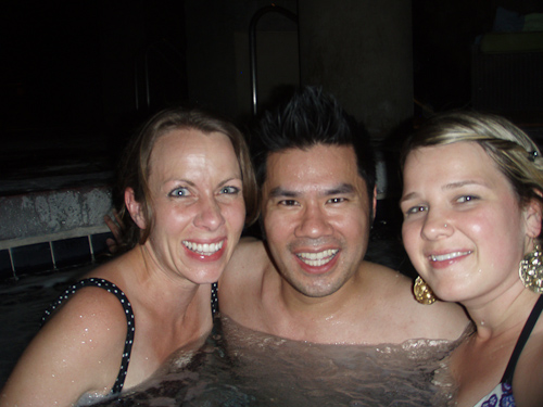 Brooke, Maggie and me hanging out in the pool at midnight.