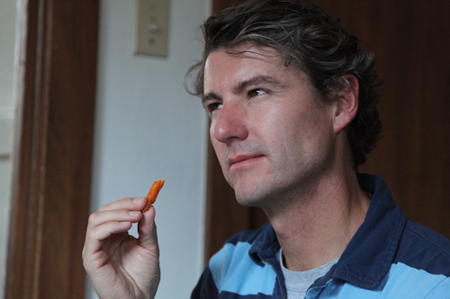 Glenn contemplates the flavor of these fries. jpg