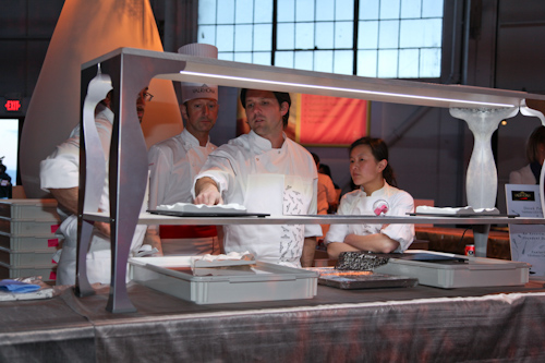 William Werner explaining how to serve his dessert creations. jpg
