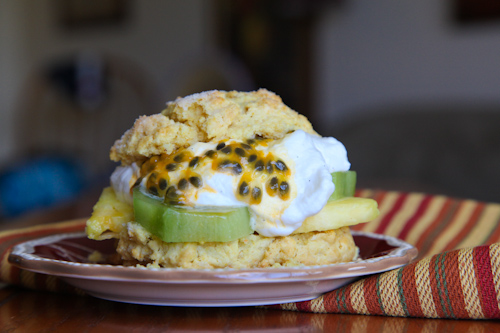 Tropical Cornmeal Shortcake with Kiwi, Pineapple and Liliko'i (Passion Fruit) jpg