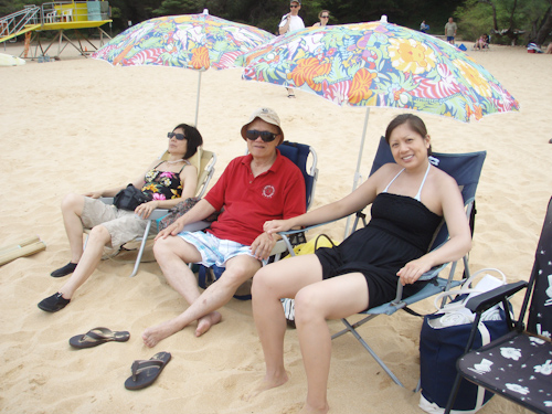 The family hanging out on the beach right before my encounter with a rogue wave. jpg