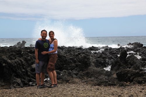 Natatia and Peter on the road to Hana at the Ke'anae Peninsula. jpg