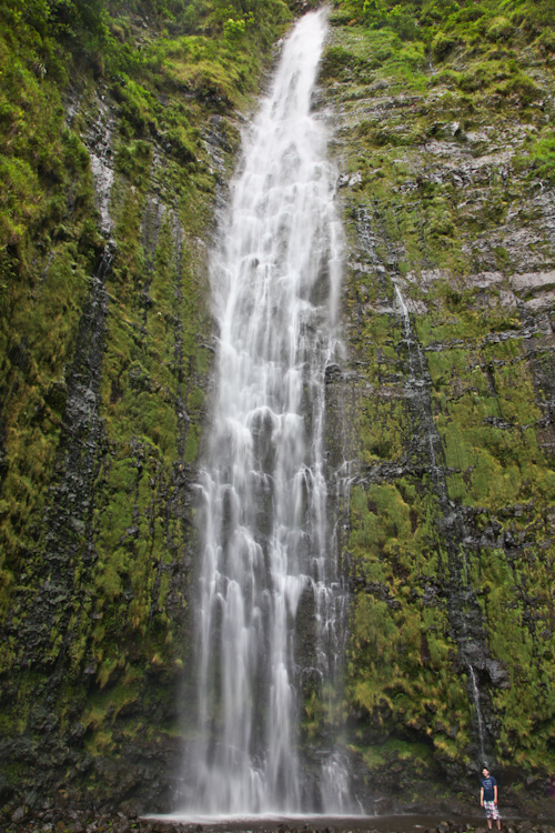 The 400 ft tall Waimoku Falls. That's me standing at the bottom right. jpg
