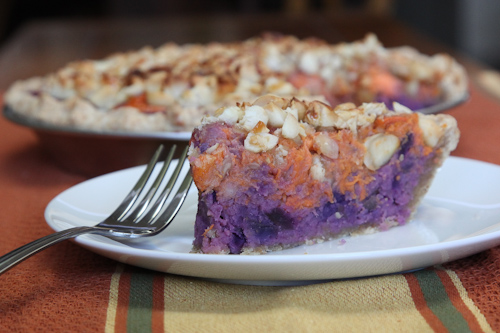 Orange Yams and Okinawa Purple Sweet potato with Macadamia Nut Pie ...