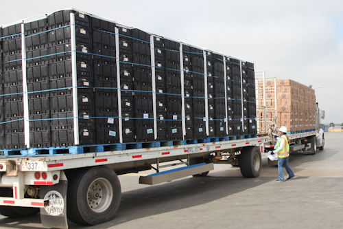 See those black cartons? Full of lettuce heading to Walmart. jpg