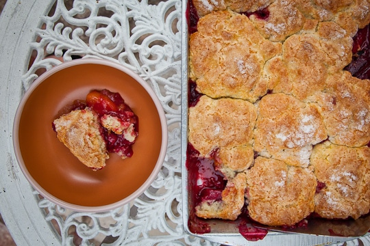 Sweet Cherry, Black Plum and Yellow Peach Cobbler and visiting AJ's ...