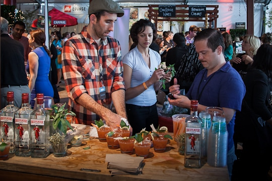 Serving up gin at the Sunday SF Chefs Grand Tasting Tent, 2012 by Irvin Lin of Eat The Love