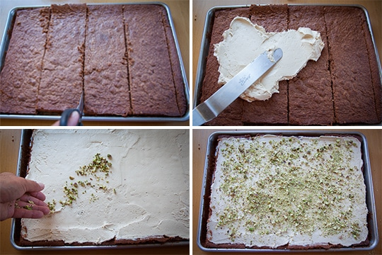 Process photos of making the Chocolate Rolled Cake with Brown Sugar Buttercream and Pistachios by Irvin Lin of Eat the Love