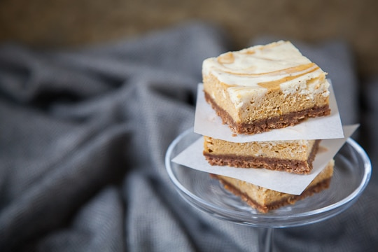 Pumpkin White Chocolate Vanilla Swirl Cheesecake Bars by Irvin Lin of Eat the Love