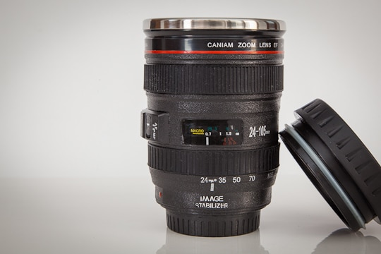 Canon 24-105mm lens coffee mug. Photo by Irvin Lin of Eat the Love