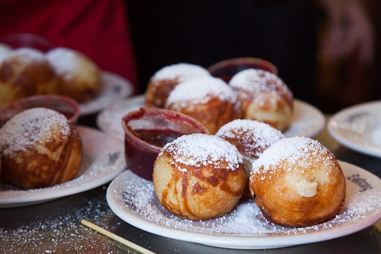 Traditional Aebleskiver, the official treat of Solvang served with raspberry jam. Photo by Irvin Lin of Eat the Love. www.eatthelove.com