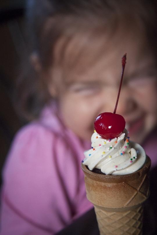Vanilla Ice Cream With Sprinkles With Cherry On Top