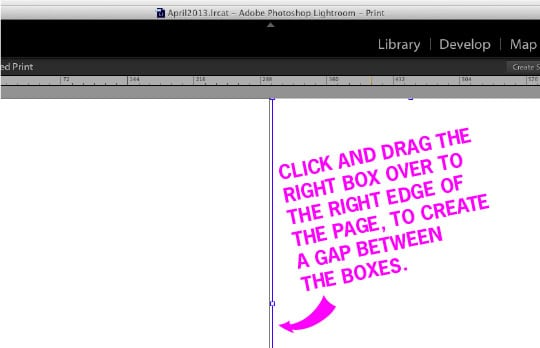 Click and drag the right box over to the right side of the page to create a gap between the boxes. Tutorial by Irvin Lin of Eat the Love. www.eatthelove.com
