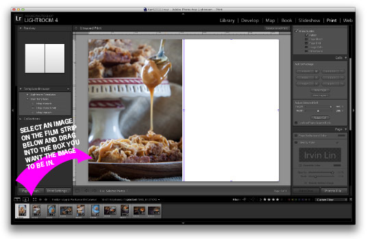 Drag the image you want into the box on the page. Tutorial by Irvin Lin of Eat the Love. www.eatthelove.com