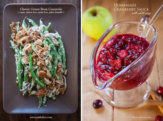 Green Bean Casserole and Cranberry Sauce