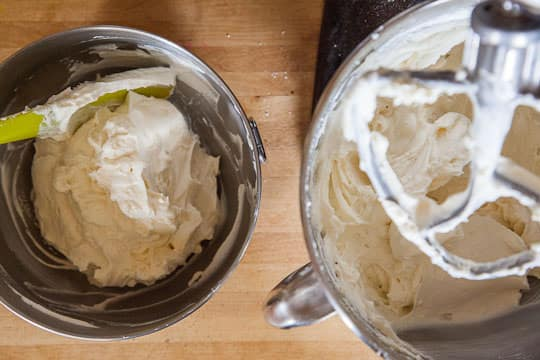 Scoop out the 1/4th to 1/3rd of the frosting into the bowl after you folded in the whipped cream.