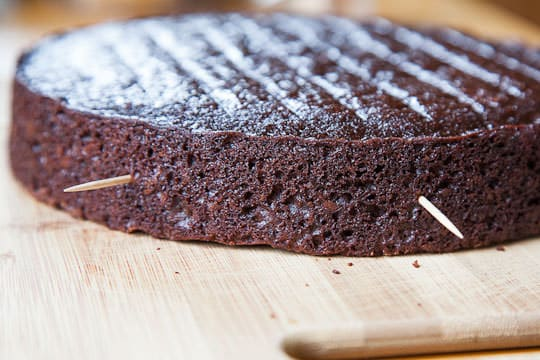 Stick toothpicks halfway up the side of the cake layers.