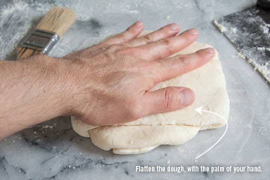 Flatten the dough with your hands. Photo and recipe by Irvin Lin of Eat the Love. www.eatthelove.com