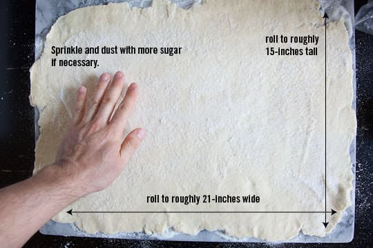 Roll the dough out, using more sugar if it sticks, to a 21 x 15 inch rectangle. Photo and recipe by Irvin Lin of Eat the Love. www.eatthelove.com