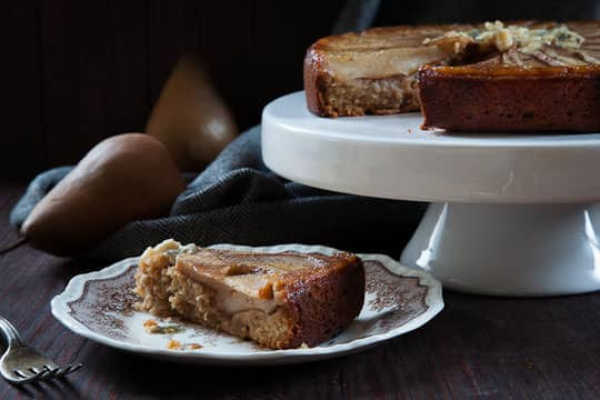 Pear Cake with honey, walnuts and blue cheese. Recipe and Photo by Irvin Lin of Eat the Love. www.eatthelove.com