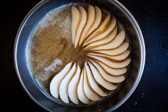 Lay the pear slices in the brown butter honey. Photo by Irvin Lin of Eat the Love. www.eatthelove.com