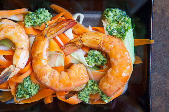Tea Smoked Shrimp Carrot, Parsnip and Broccoli Salad & Asian Pesto ...
