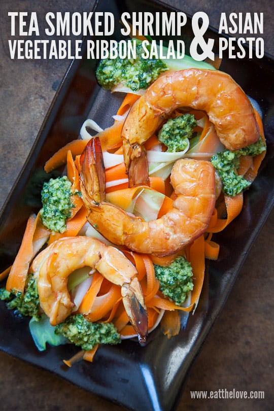 Tea Smoked Shrimp Vegetable Ribbon Salad & Asian Pesto. Recipe and ...