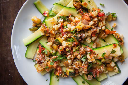 Zucchini Pasta Recipe, a Summer vegetable medley by Irvin Lin of Eat the Love.