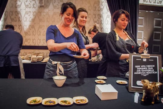 Naomi Pomeroy of Beast serving up Crepe with Oregon Dungeness Crab and Chanterelle Mushroom Reduction. Photo by Irvin Lin of Eat the Love.