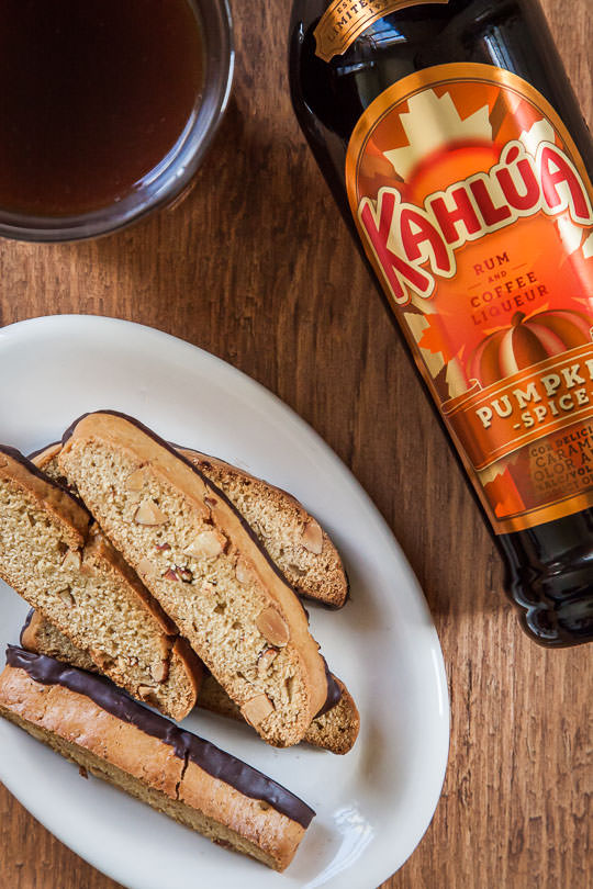 Chocolate Dipped Kahlúa Pumpkin Spice Almond Biscotti