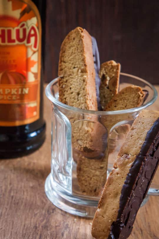 Kahlúa Pumpkin Spice Almond Biscotti dipped in chocolate. Photo by Irvin Lin of Eat the Love.