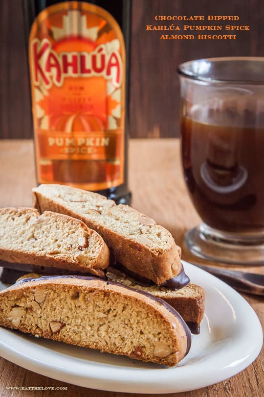 Chocolate dipped Kahlua Pumpkin Spice Almond Biscotti. Photo and recipe by Irvin Lin of Eat the Love.