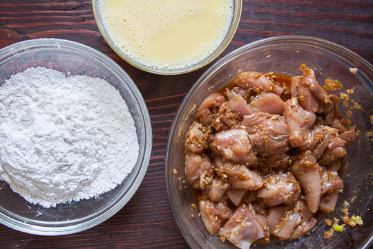 Chicken in marinade, with egg dip and sweet potato starch coating. Photo and recipe by Irvin LIn of Eat the Love.