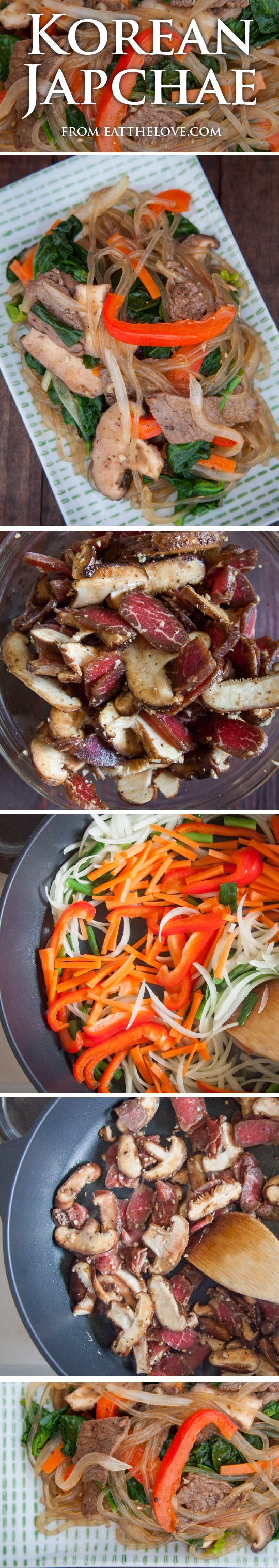 Korean Japchae Recipe with step-by-step photos and instructions by Irvin Lin of Eat the Love.