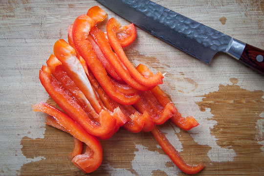 Slice the red pepper for the Korean japchae. Photo by Irvin Lin of Eat the Love.