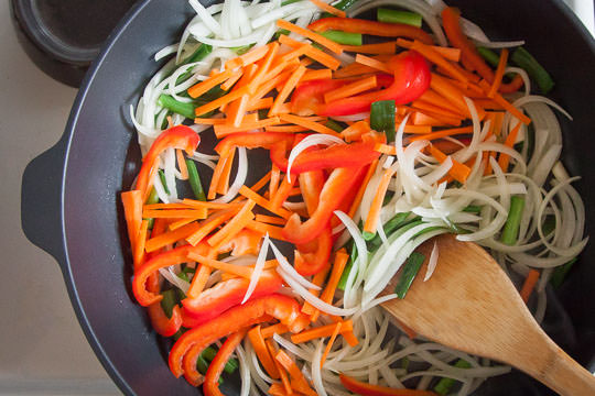 Cooking the vegetables for the Korean japchae recipe. Photo by Irvin Lin of Eat the Love.
