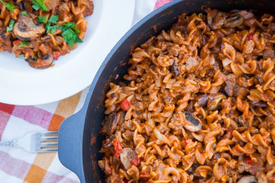 Cheeseburger Pasta! Nothing like the box mix, totally from scratch. Photo and recipe by Irvin Lin of Eat the Love.
