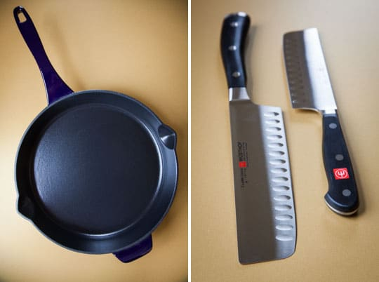 Anolon Cast Iron Skillet and WUSTHOF Knives