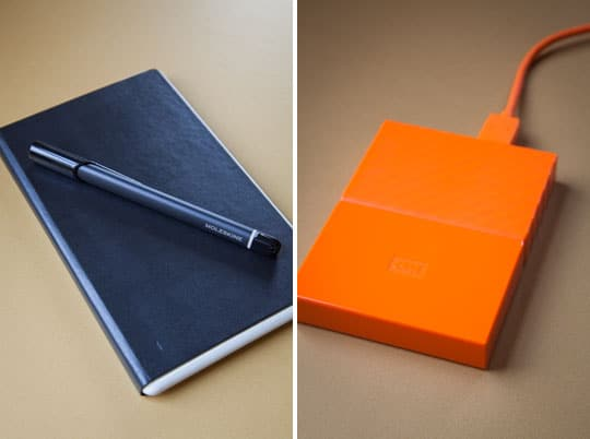 Moleskin and Western Digital External hard drive