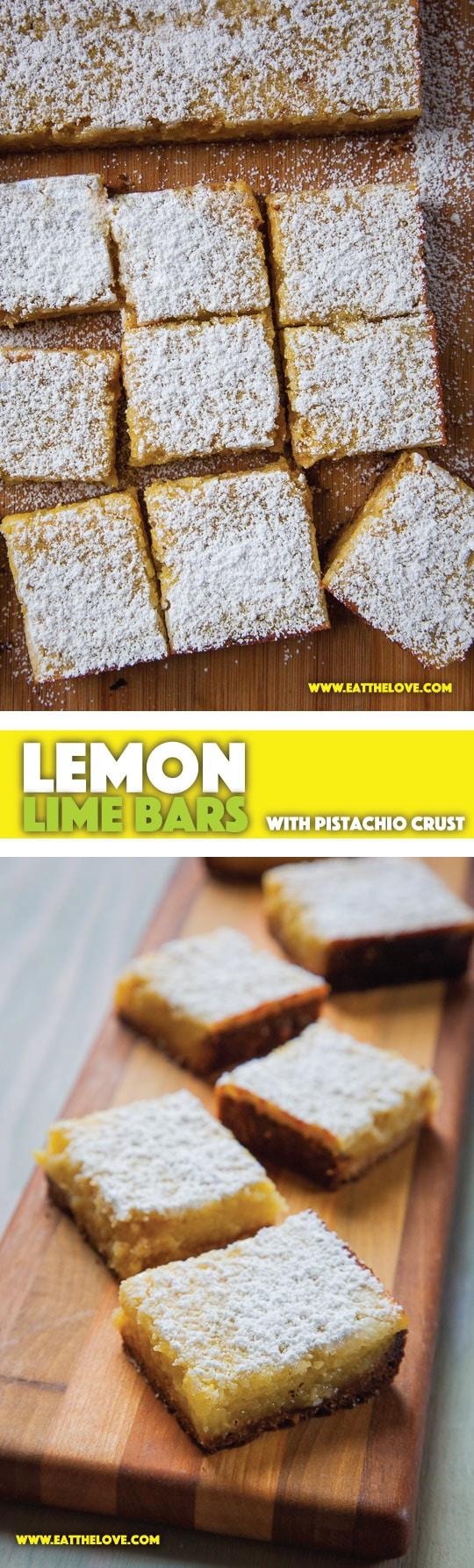 Easy-to-Make Lemon Lime Bars with Pistachio Crust. Photo and recipe by Irvin Lin of Eat the Love.