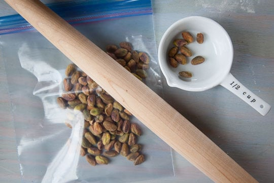Place pistachios in ziplock bag.