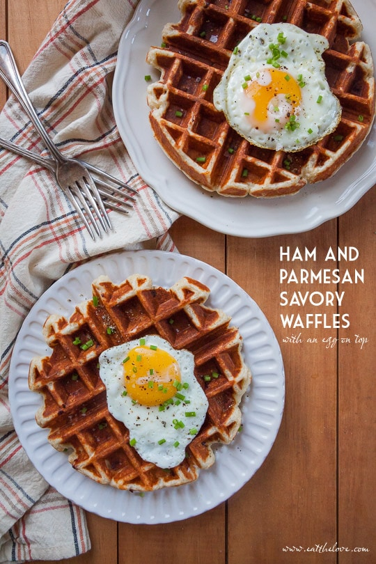 Ham and Parmesan Waffles (with a fried egg on top). Photo and recipe by Irvin Lin