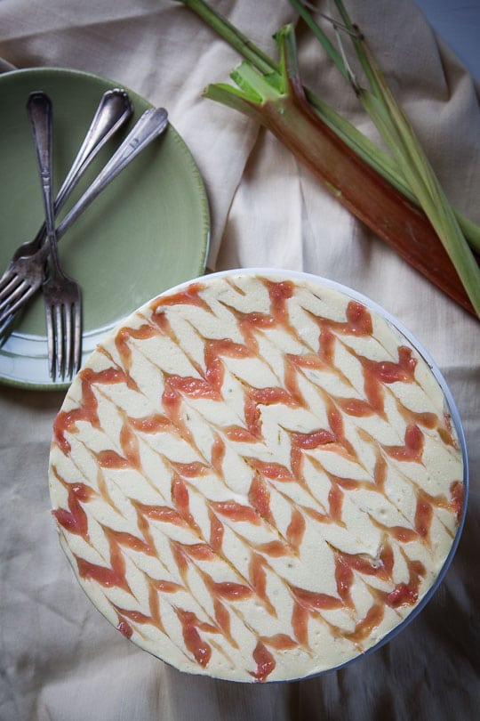 Lemongrass and rhubarb cheesecake. Photo and recipe by Irvin Lin of Eat the Love.