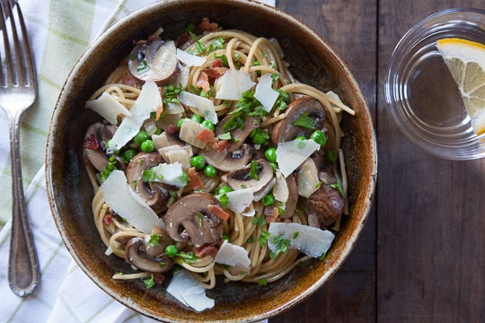 Bacon, Mushroom, and Peas Pasta. Photo and recipe by Irvin Lin of Eat the Love.