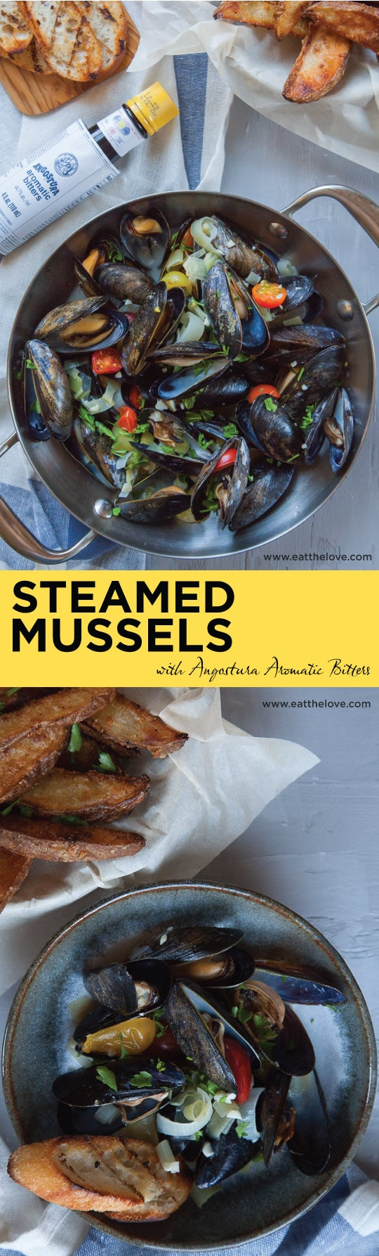 Easy and Fast Steamed Mussels with Angostura Bitters. Photo and recipe by Irvin Lin of Eat the Love.