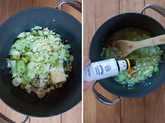 Cook the vegetables. Then add the ginger and Angostura aromatic bitters