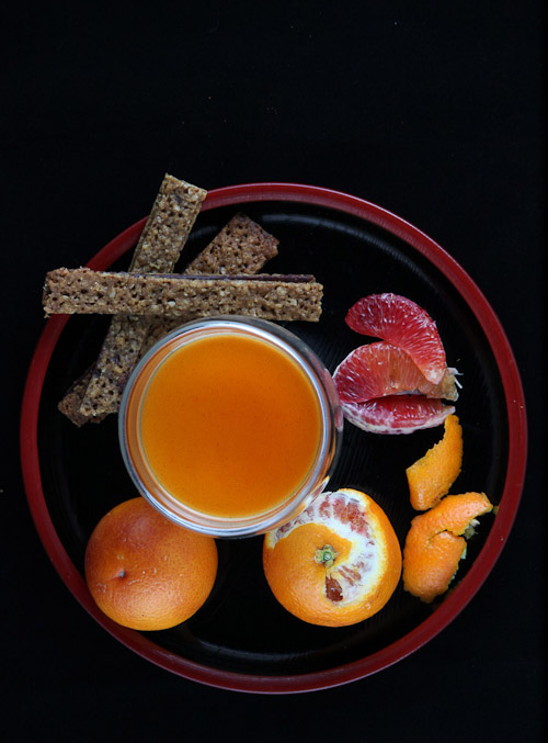 Daring Bakers' Challenge: Vanilla Bean & Blood Orange Panna Cotta with Orange Allspice Caramel Sauce and Orange Cardamom Hazelnut Dark Chocolate Florentines (gluten free)