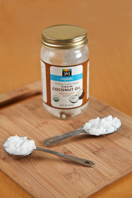 Measure out 2 tablespoons of unrefined Virgin Coconut Oil
