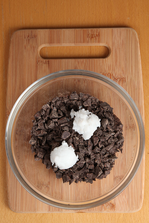 Add Coconut Oil to Chopped Chocolate
