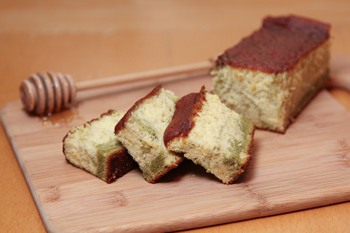 Still thinking of Japan: Matcha Green Tea and Lemon Honey Castella (kasutera) Japanese Sponge Cake